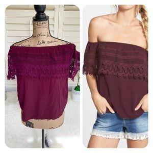 Socialite Crochet off the shoulder plum top